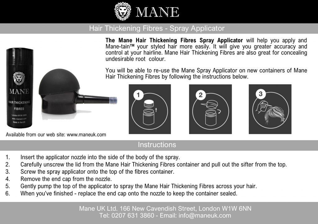 Spray Applicator Mane Hair Thickening Fibres